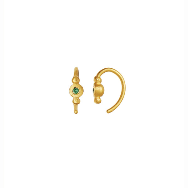 Petit Bon-bon Green Zircon Earring Piece Gold