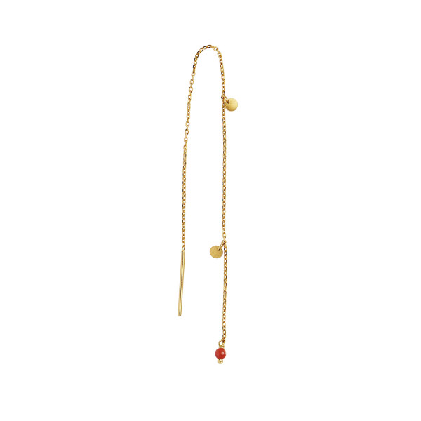 Dangling Petit Coin And Stone - Red Coral