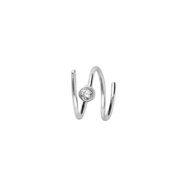 Big Dot Curl Earring Left Silver