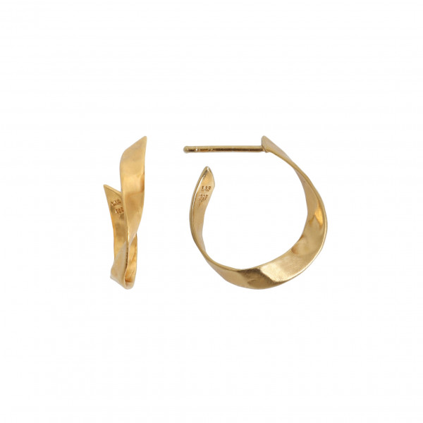 Twisted Hammered Creol Earring - Right Gold