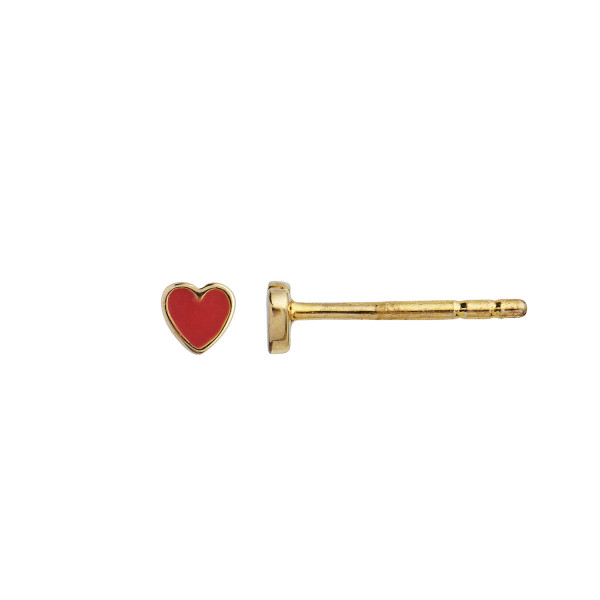 Petit Love Heart Red Coral Enamel Gold