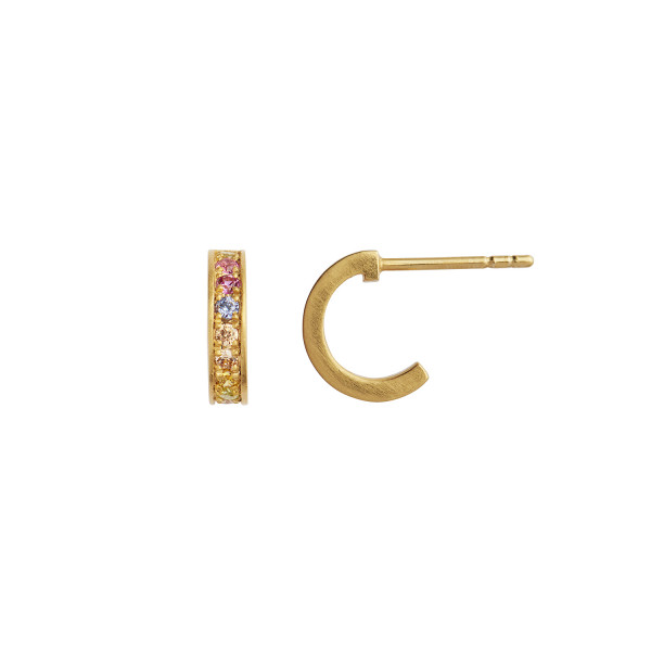 Petit Candy Creol with Soft Pastel Stones Earring Gold