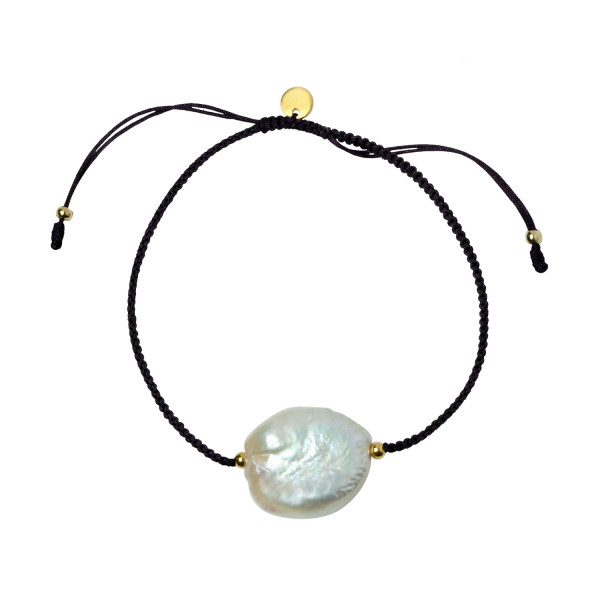 Big White Pearl and Black Ribbon Bracelet