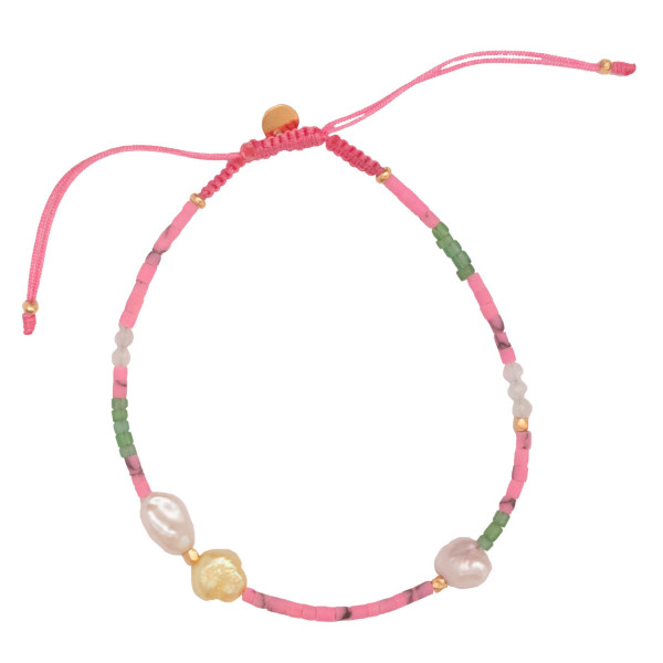 Deep Sea Bracelet with Fresh Pink & Dusty Green Stones and Pink Ribbon