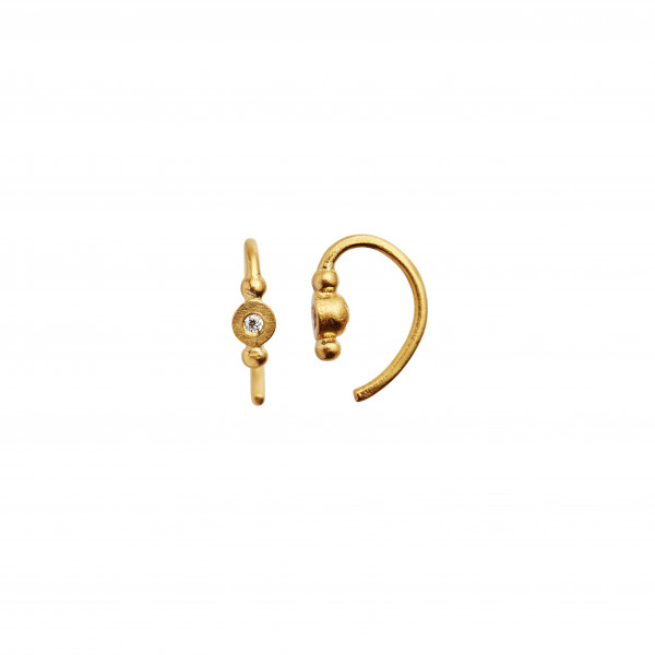 Petit Bon-bon White Zircon Earring Piece Gold