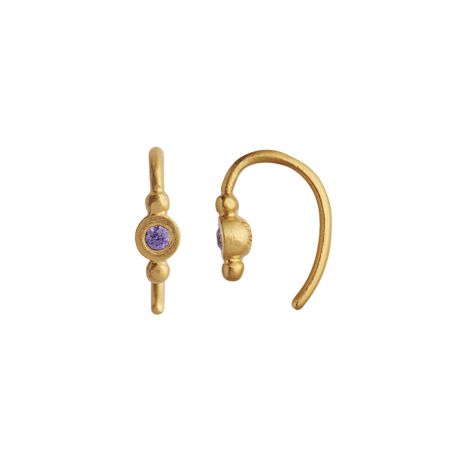 Petit Bon-bon Purple Zircon Earring Piece Gold