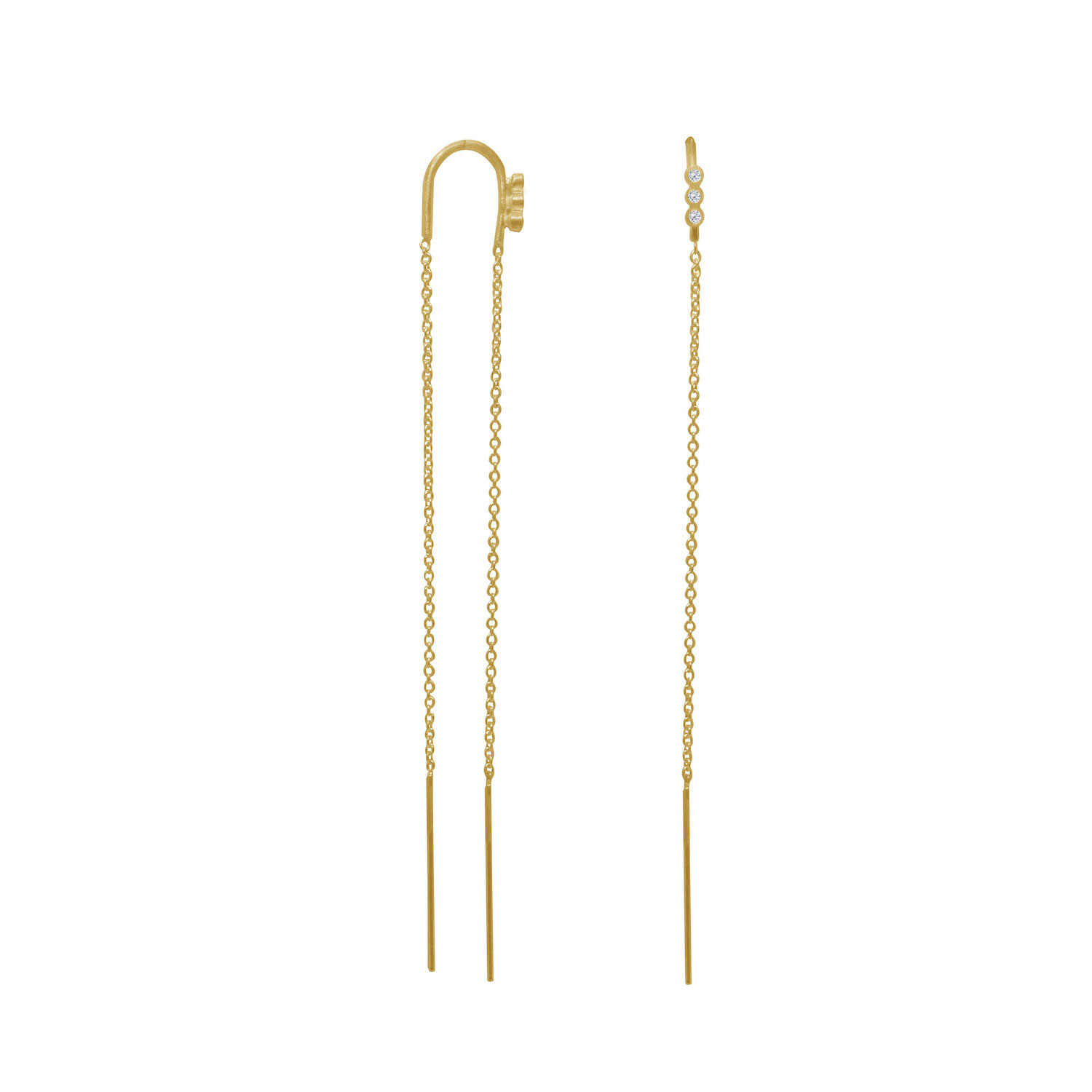 Three Dots Double Chain Earring Piece Gold