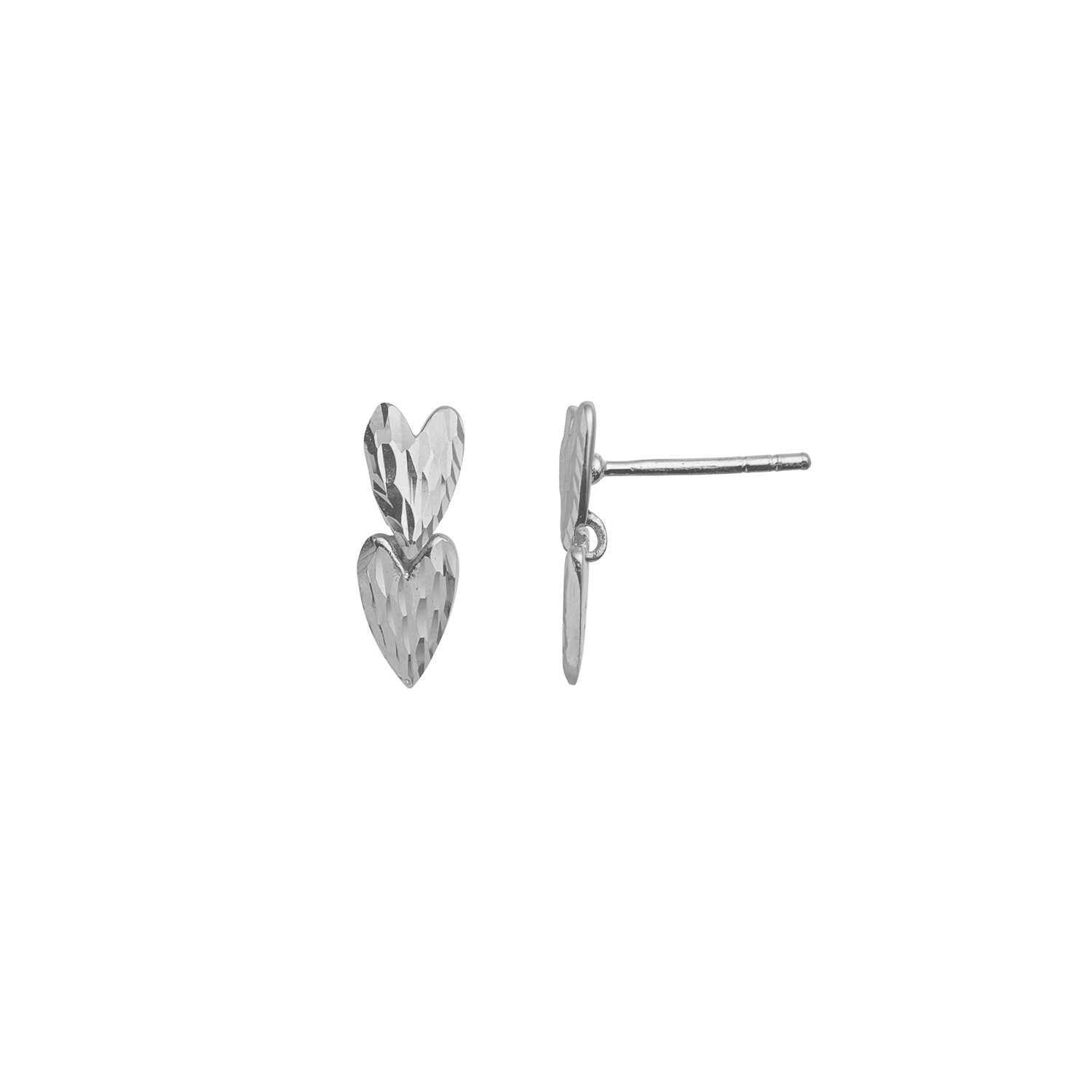 Two Love Hearts Earring - Silver