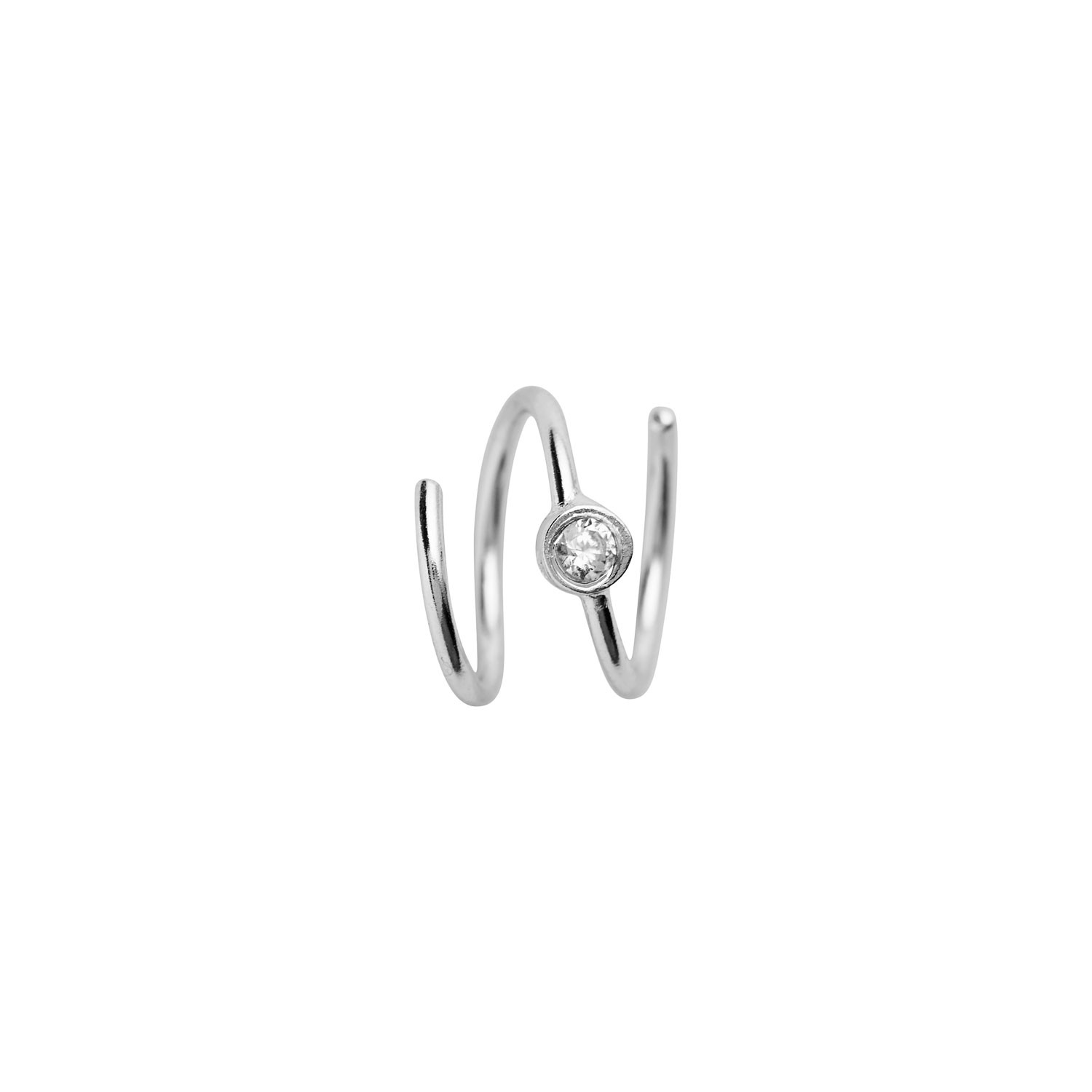 Big Dot Curl Earring Right Silver