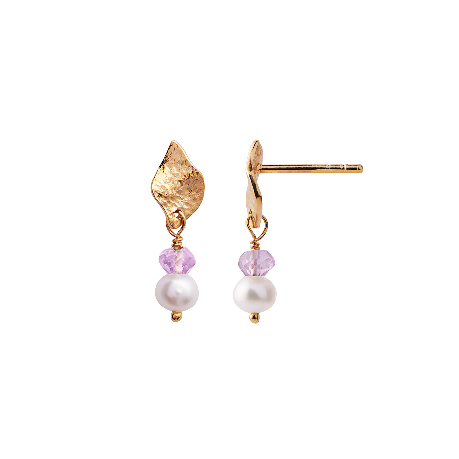 Ile De L'Amour with Pearl and Light Amethyst Earring Gold