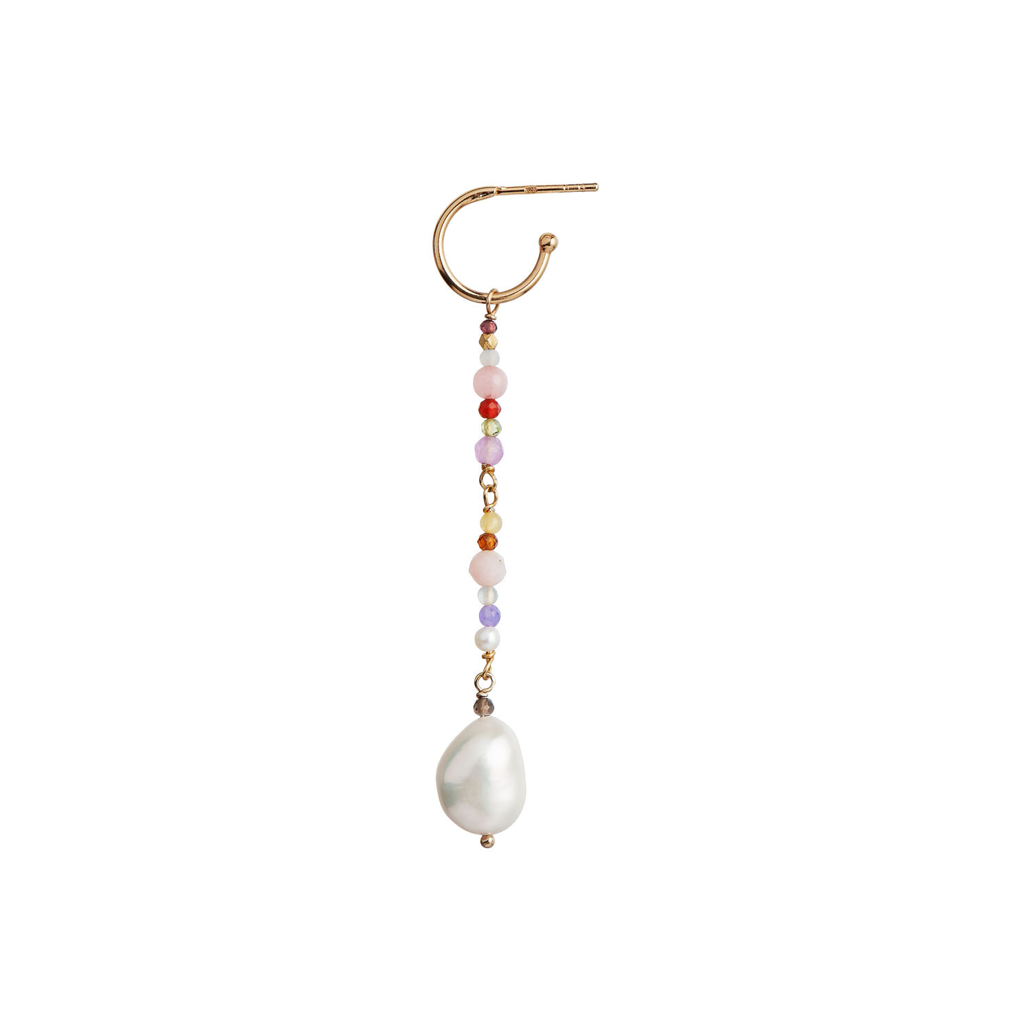 Dangling Baroque Pearl Earring with Stones - Pink Mix
