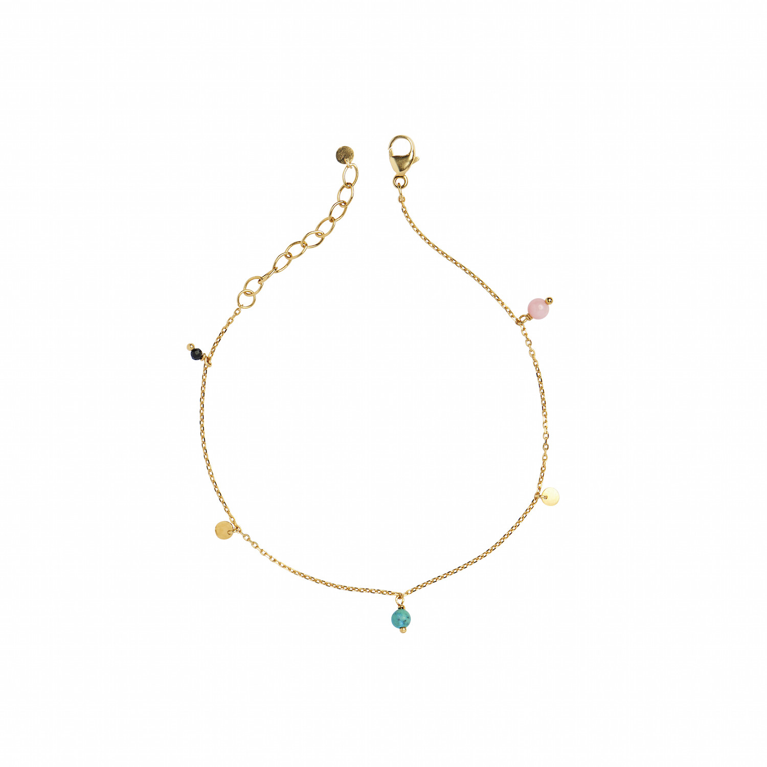 Petit Coin And Stones - Black Spinel, Coral and Turquoise - Bracelet