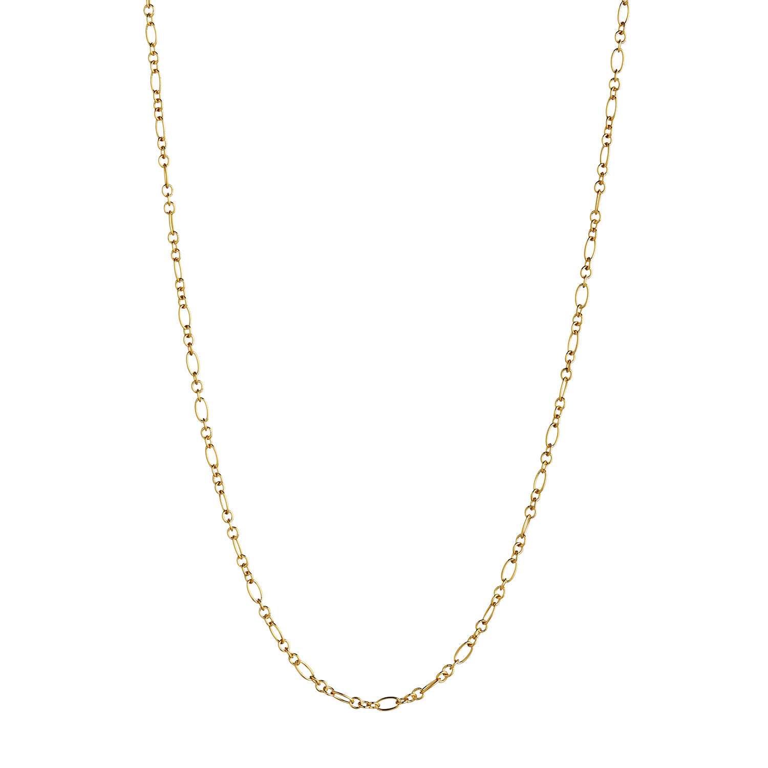Long Pendant Chain - Figaro Round Gold