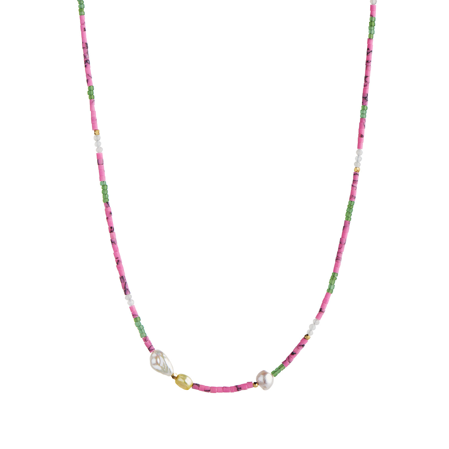 Deep Sea Necklace with Fresh Pink & Dusty Green Mix