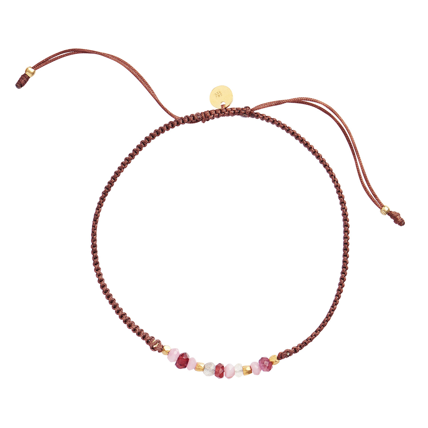 Candy Bracelet - Bordeaux Mix Gemstones and Brown Ribbon