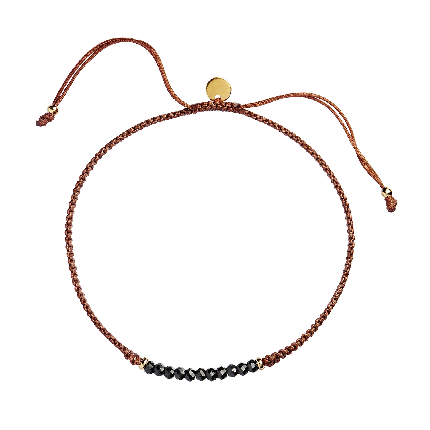 Candy Bracelet - Black Spinel and Rust Ribbon