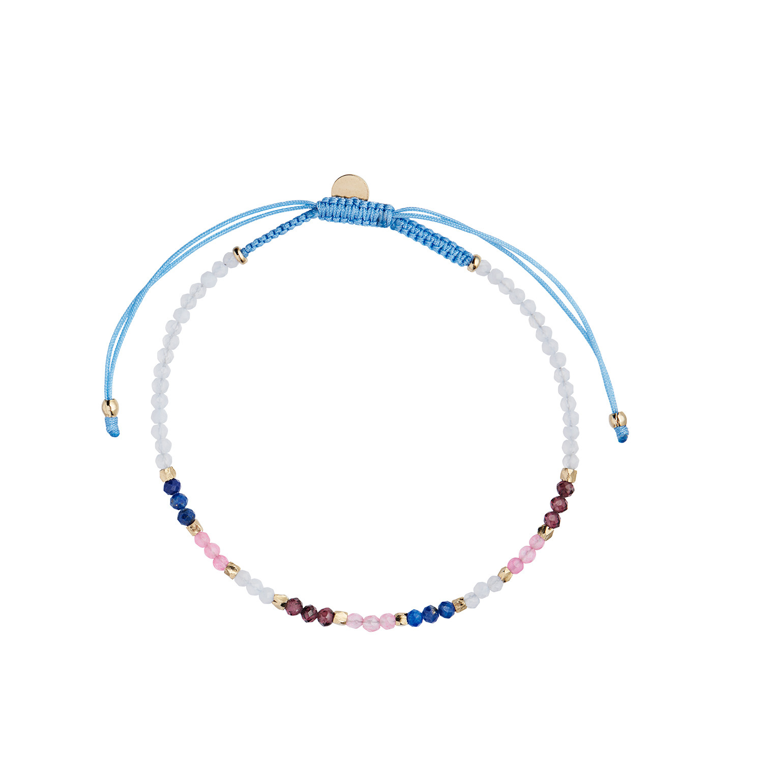 Iceblue Rainbow mix with Blue Chalcedony, Garnet, Lapis and Pink Jade