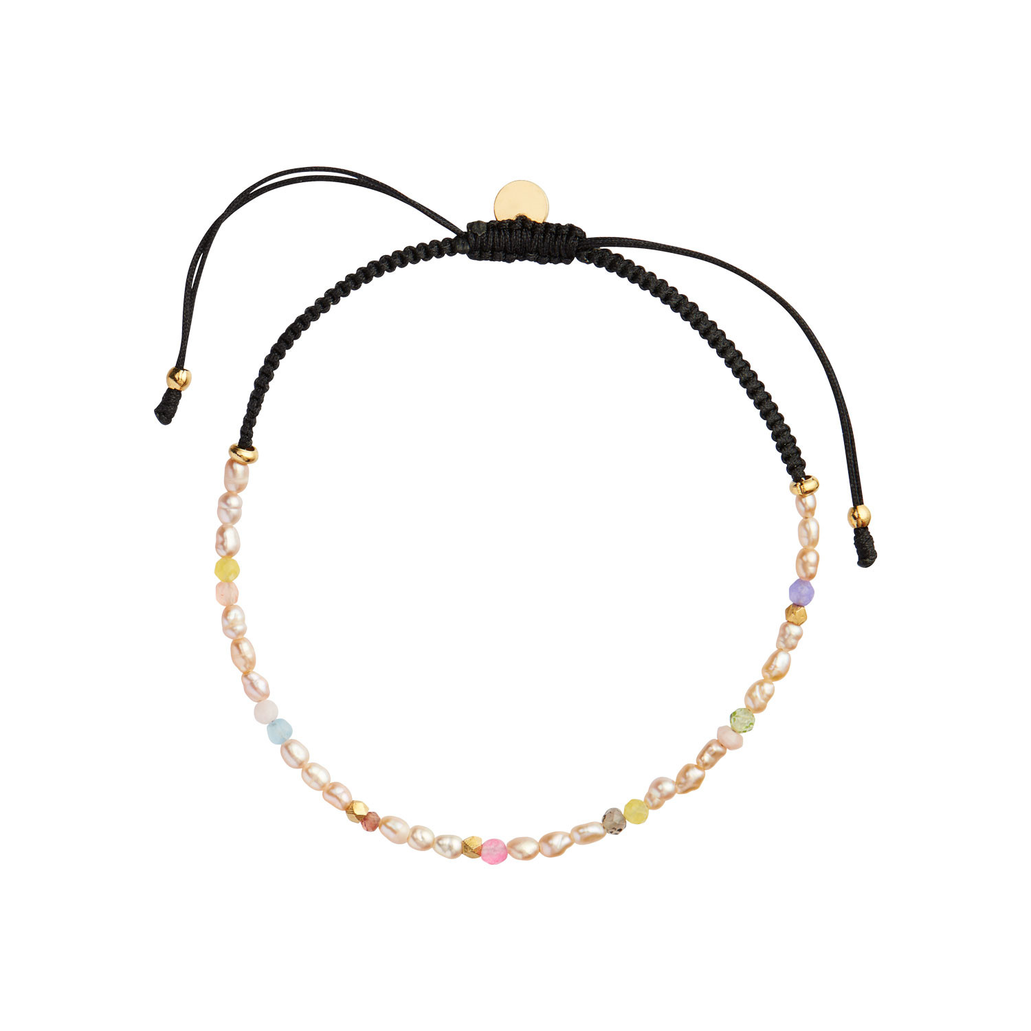 Confetti Pearl Bracelet with Beige and Pastel Mix with Black Ribbon