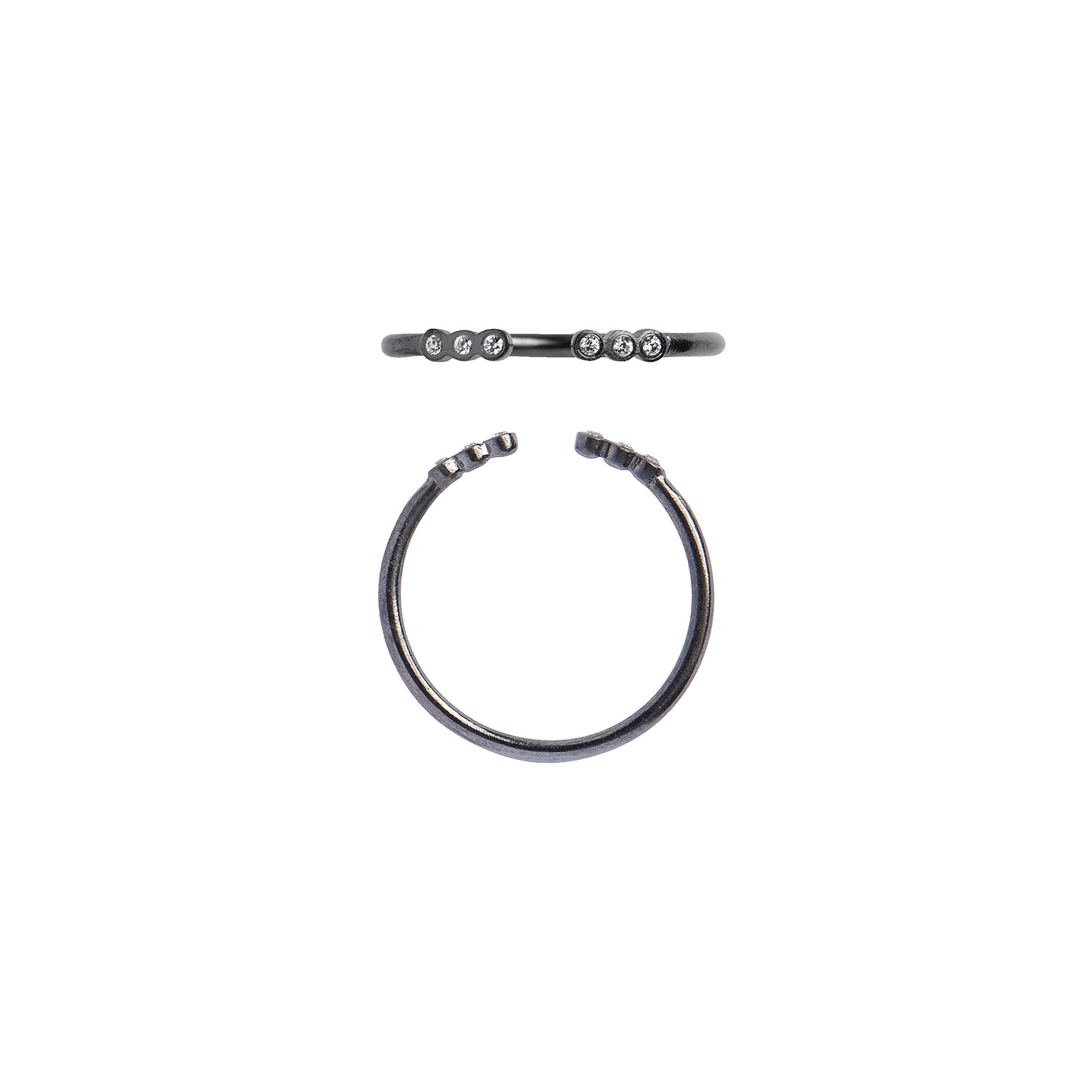 Open Six Dots Ring Black