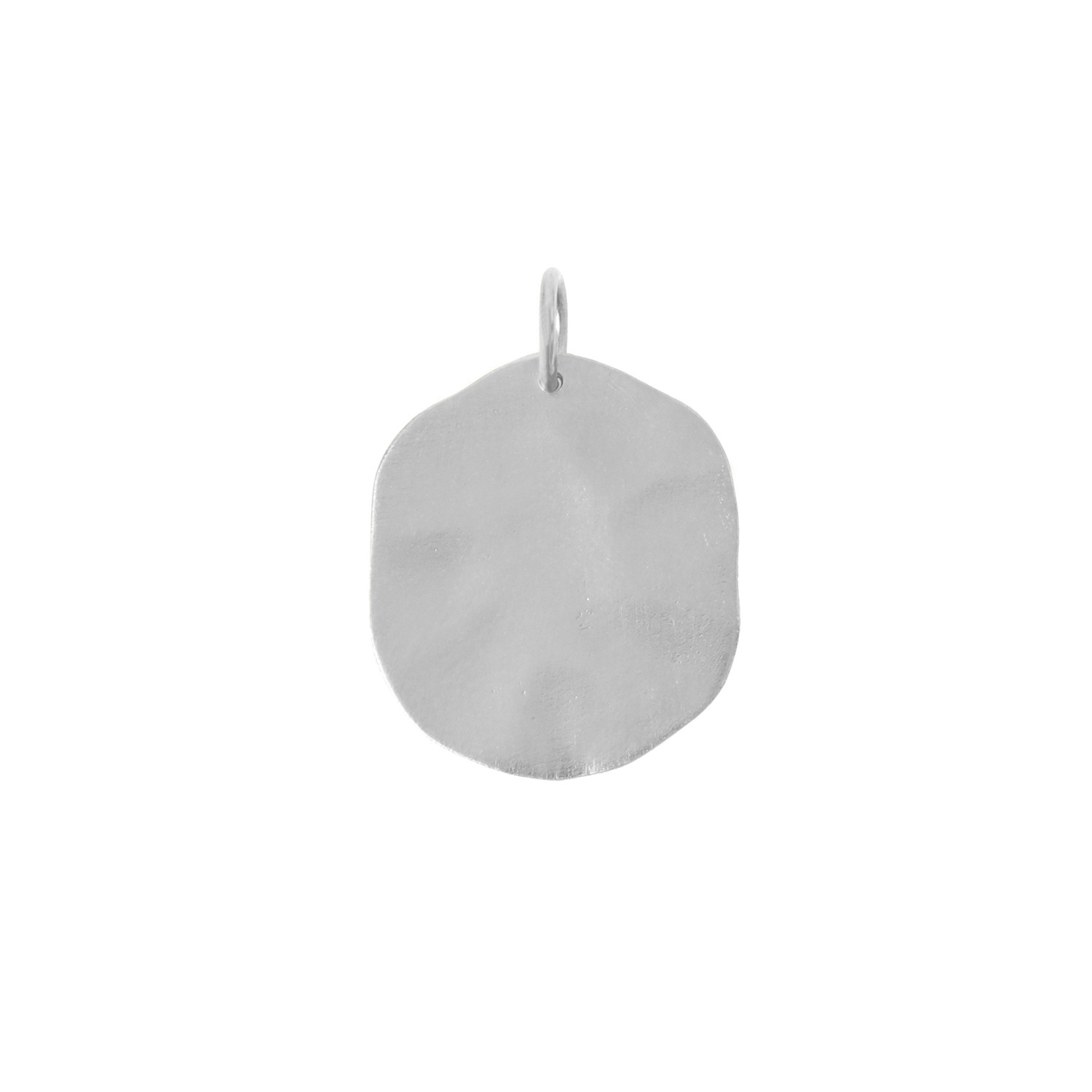 Big Hammered Coin Pendant Silver