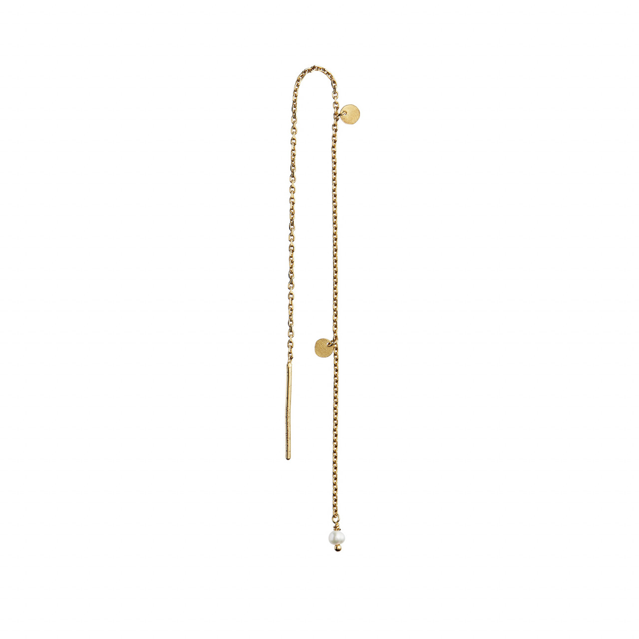 Dangling Petit Coin And Stone Earring Gold - White Pearl
