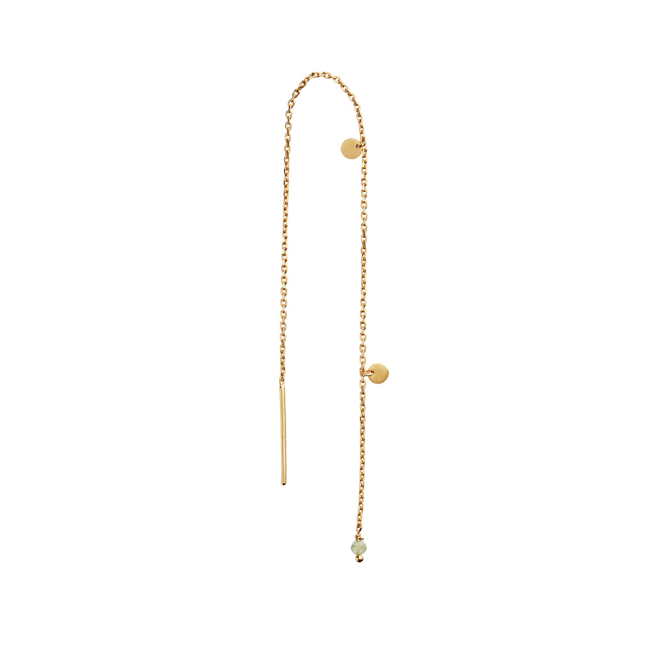 Dangling Petit Coin And Stone Earring Gold - Peridot