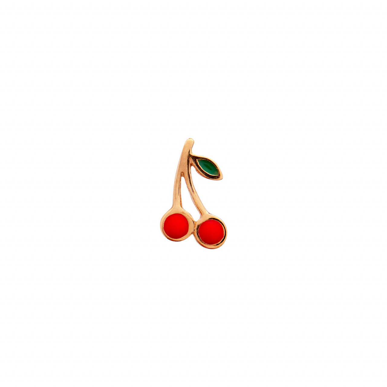 Petit Cherry Earring Gold Enamel
