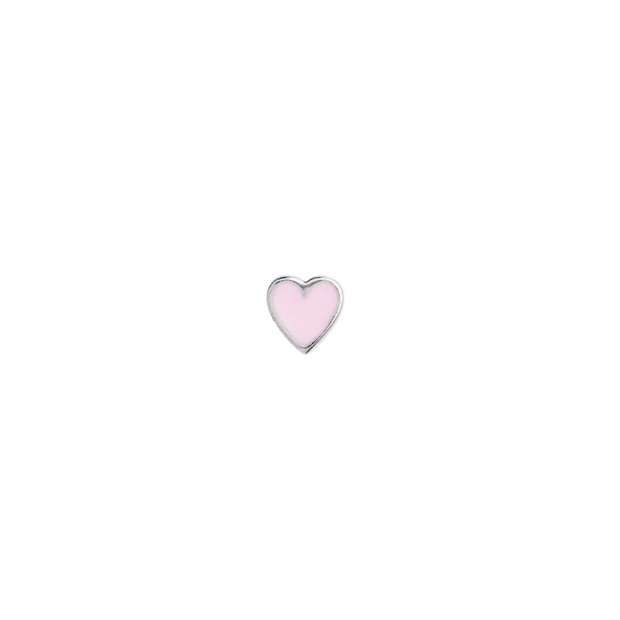Petit Love Heart Light Pink Enamel Silver