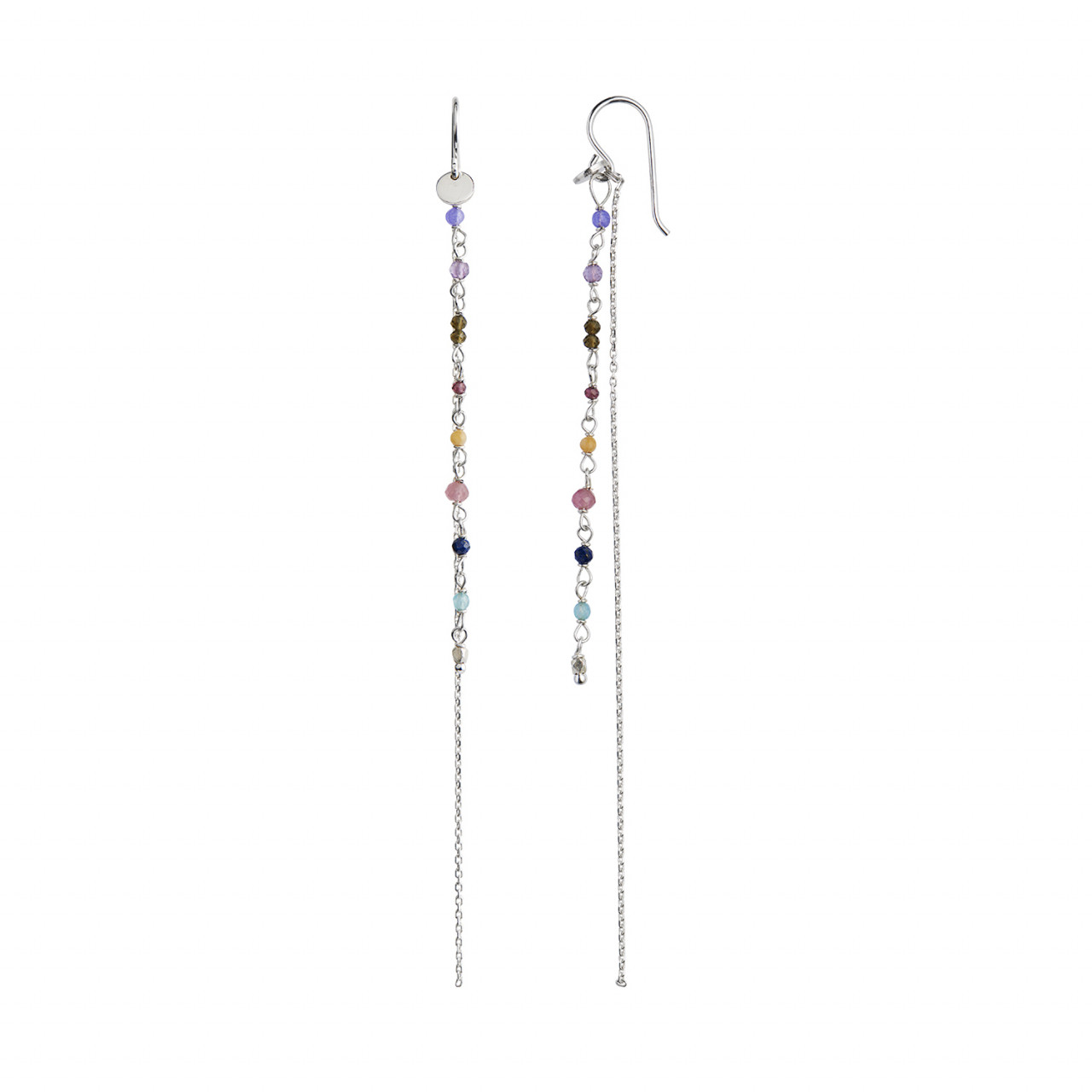Petit Gemstones with Long Chain Earring Silver - Berry Mix