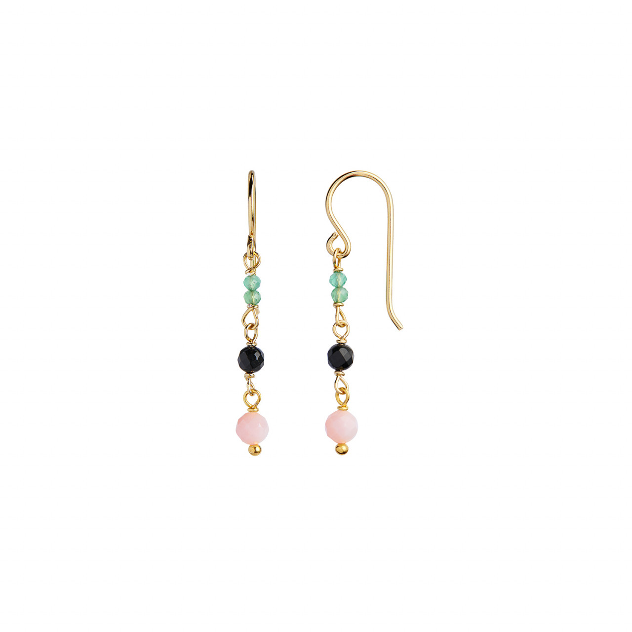 Petit Stone Earring on Hook - Green Forrest