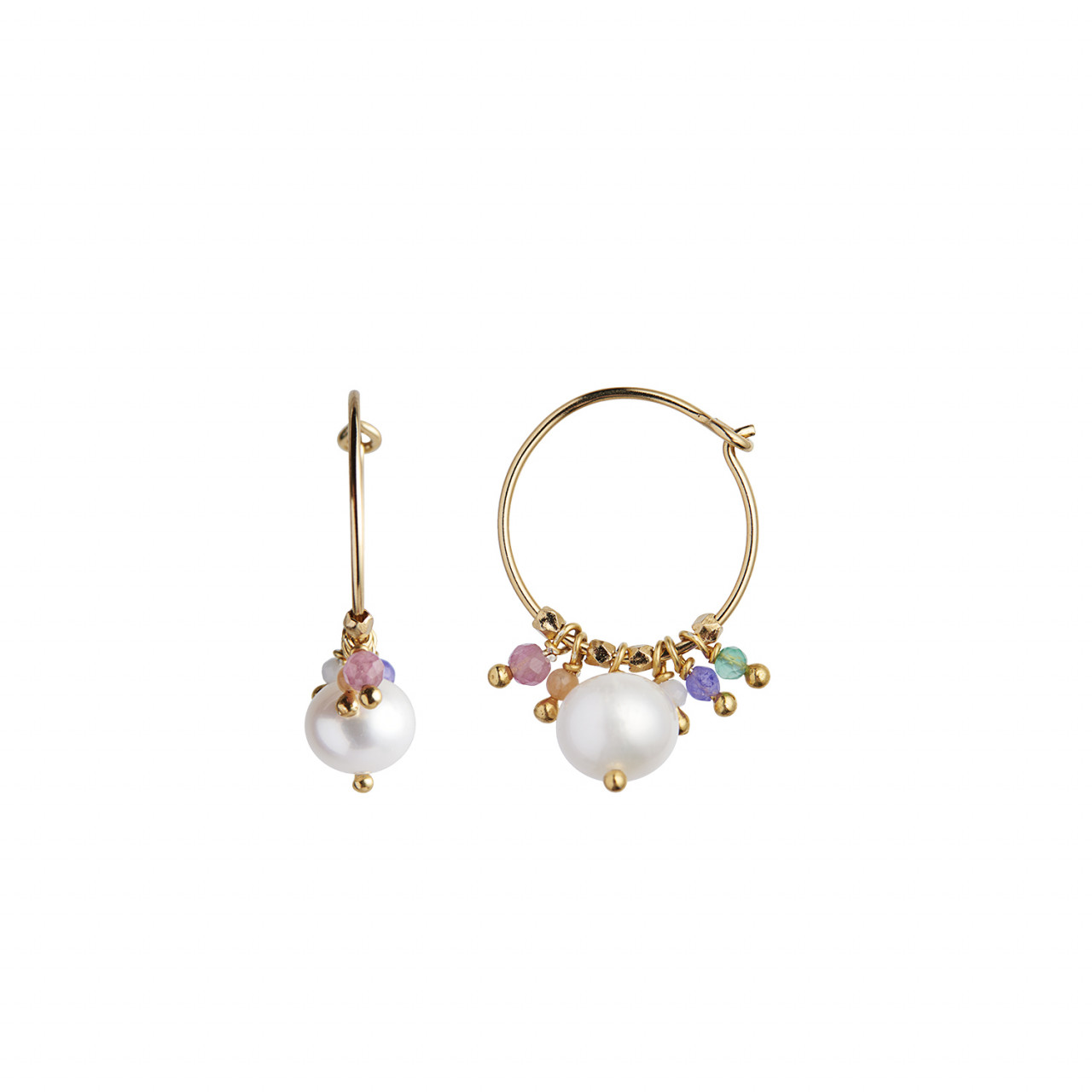Petit Hoop with Pearl and Candy Stones Earring Gold