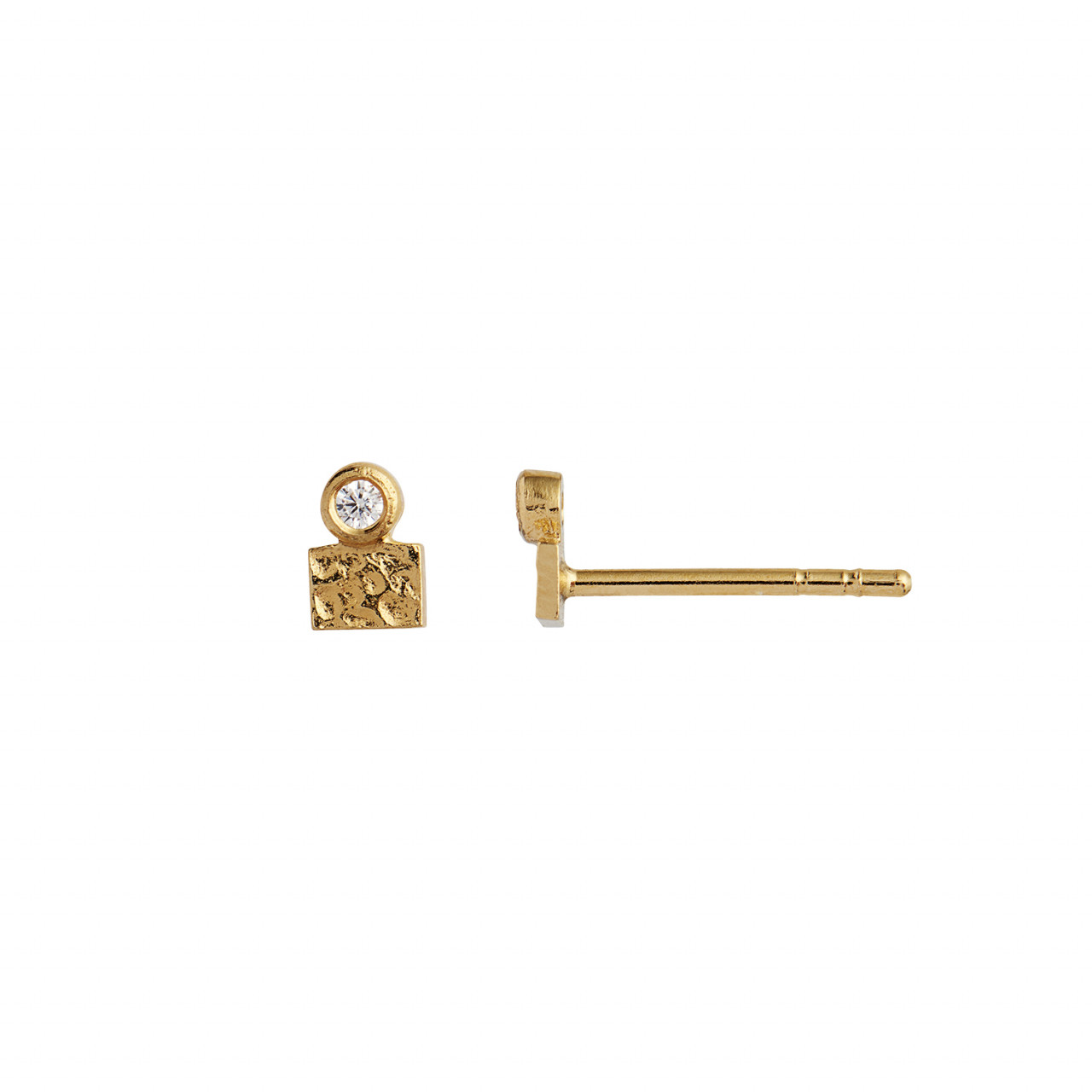 Tres Petit La Mer Earring With Stone Gold
