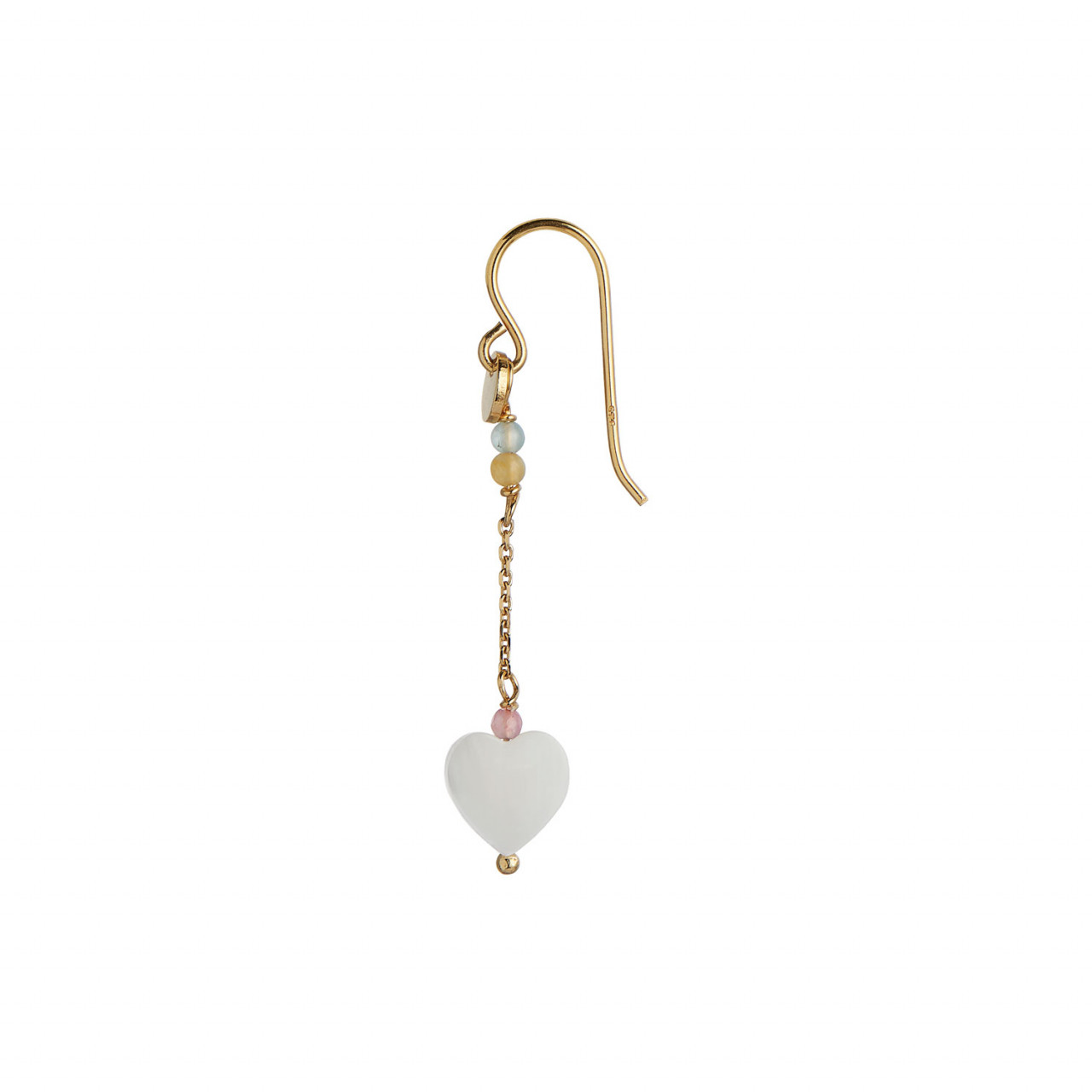 Love Heart Earring Gold with Chain and Gemstones - Pastel Mix