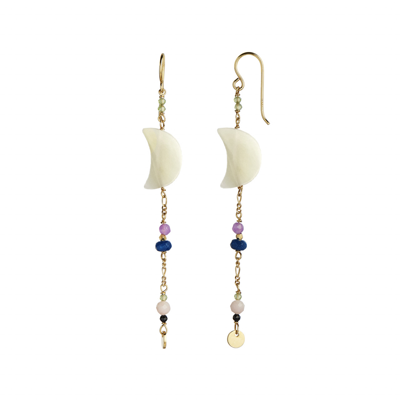 Midnight Moon Pearl Earring Gold with Gemstone Long