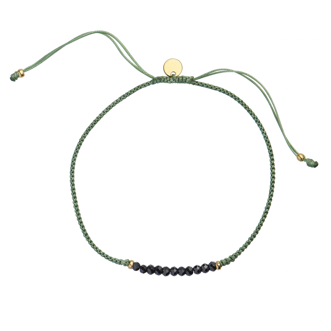 Candy Bracelet - Black Spinel and Dusty Green Ribbon