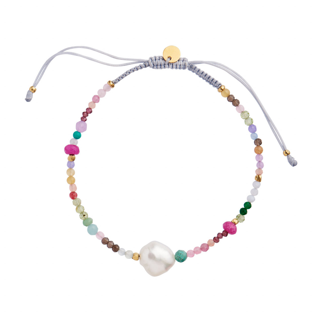 Color Crush Bracelet with Multi Mix and Light Grey Ribbon
