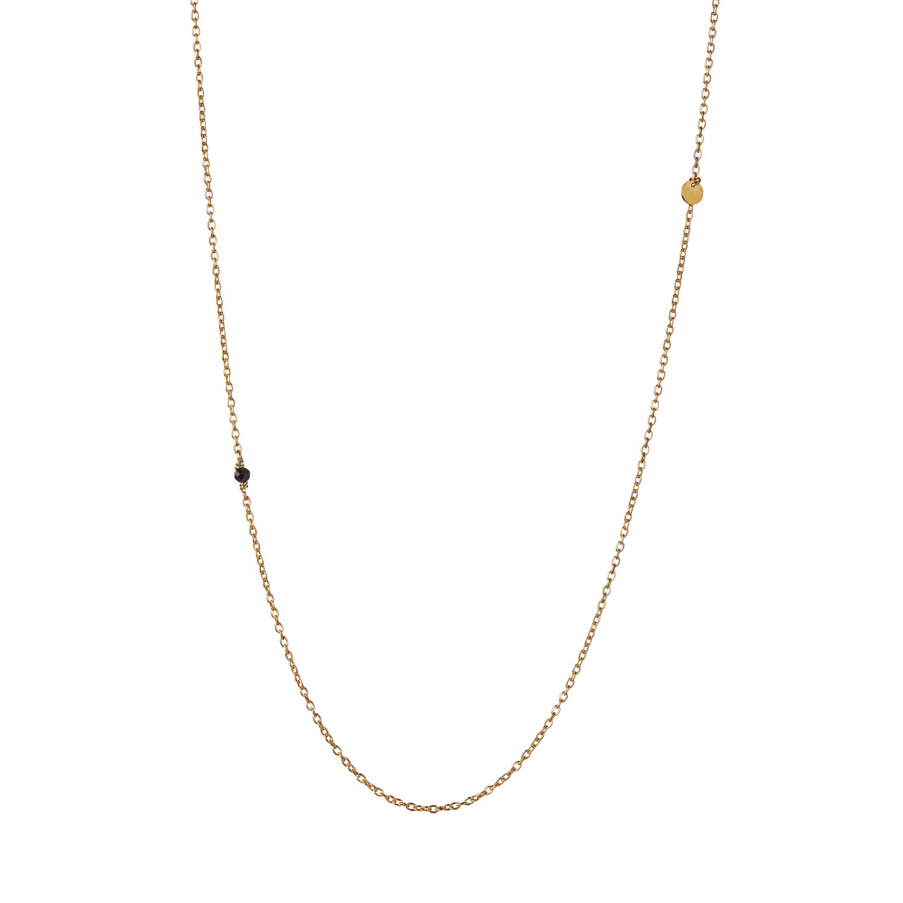 Pendant Chain With Petit Coin And Black Spinel Necklace