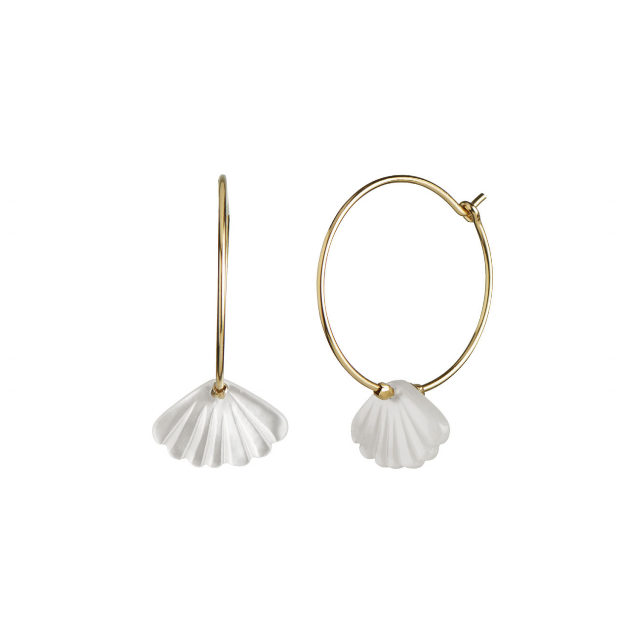 Hoop with White Seashell Earring Gold