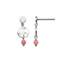 Petit Hammered Coin and Stone Silver - Pink Coral
