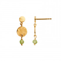 Petit Hammered Coin and Stone Earring Gold - Peridot