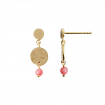 Petit Hammered Coin and Stone - Pink Coral