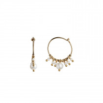 Petit Hoop with White Pearls Earring Gold