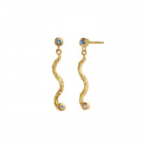 Petit Dangling La Nature Earring Gold with Stones - Sky Blue - Right