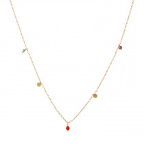 Petit Coin And Gem Stones - Garnet, Green Agate and Red Coral