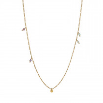 Petit Coin and Stones Pendant Chain Gold
