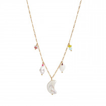 Short Midnight Moon Necklace Gold with Five Pendants