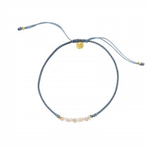 Candy Bracelet - Two Gemstones Mix and Jeans Blue Ribbon