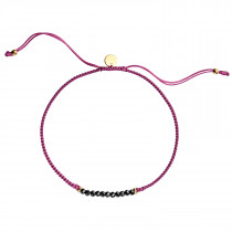 Candy Bracelet - Black Spinel and Light Cherry Ribbon