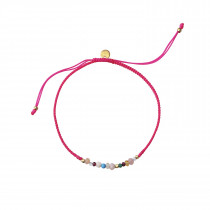Candy Bracelet - Mixed Gemstones and Neon Pink Ribbon