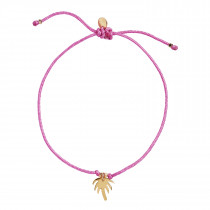Petit Palm Bracelet Pink Ribbon - Gold